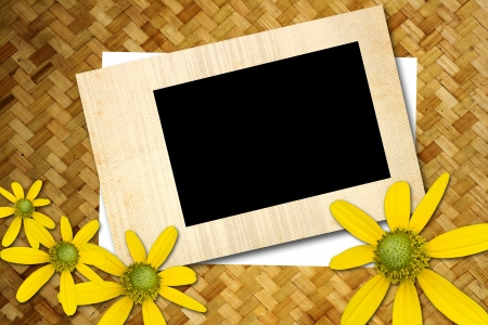 blank picture frame on old wooden texture Stock Photo