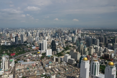 silom: Bangkok city aerial view