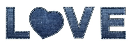 An Isolated   Love  word made by jeans texture photo