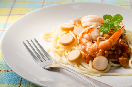 spaghetti with shrimp Stock Photo