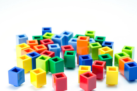 plactic: colorful plactic block close up Stock Photo