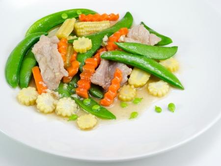 stir fried vegetables in white plate