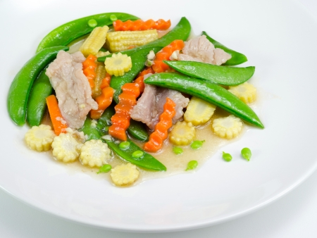 stir up: stir fried vegetables in white plate