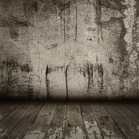interiér pokoje s vintage staré grunge zdi a dřevěné podlahy