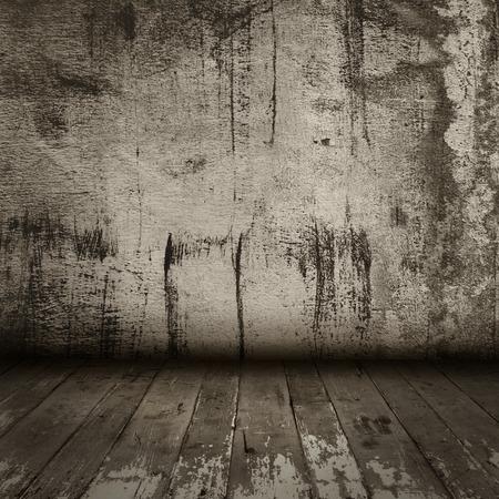 kamer interieur vintage met oude grunge muur en houten vloer Stockfoto