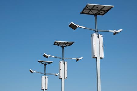 Street lighting with solar panels Reklamní fotografie