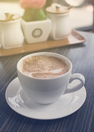 kopje koffie op tafel Stockfoto