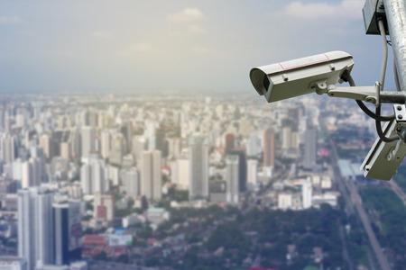 cctv over cityscape background
