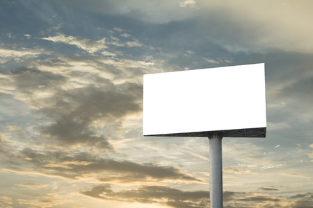 blank billboard against sky and clouds background