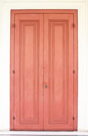 Grunge old barn door in red tones  photo