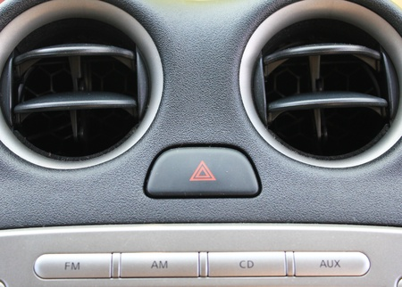 Vehicle instrument panel console and car stereo radio Stock Photo