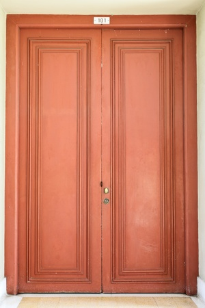 Old red door photo