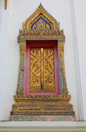 Thai architecture of Window at Thai temple, Wat Hua-Sapan, Thailand  photo