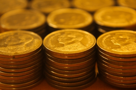 A lot of coins, Baht, Thai, Money Stock Photo