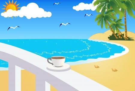 summer break: coffee cup on the beach