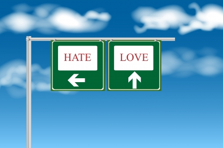 hate: Hate or love sign Stock Photo