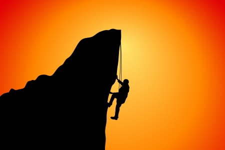 free climber: climb the cliff, success Stock Photo