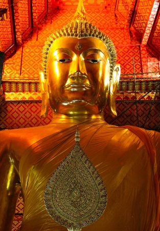 gloden: Authentic Buddha statue in Thai temple thailand Stock Photo