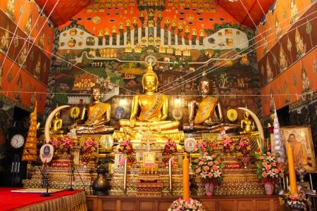 gloden: Many gloden Buddha statues in Ayutthaya temple, thailand