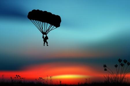 Sporters-Parashutist op een Sky