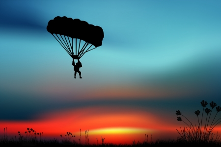 parachute jump: Sportsmen-parashutist on a Sky Stock Photo