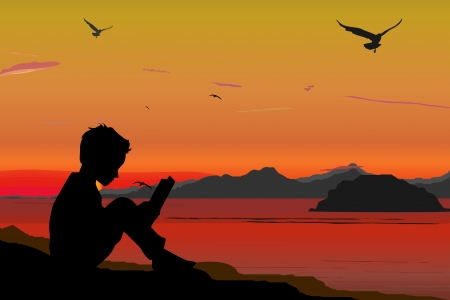 Silhouette, children reading a book on beach, sunset, summertime photo