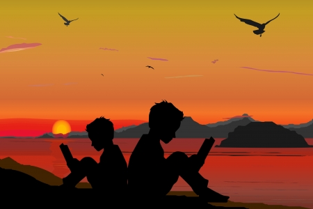 Silhouette, children reading a book on beach, sunset, summertime