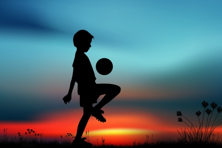 Silhouette, children playing football on meadow, sunset, summertime photo