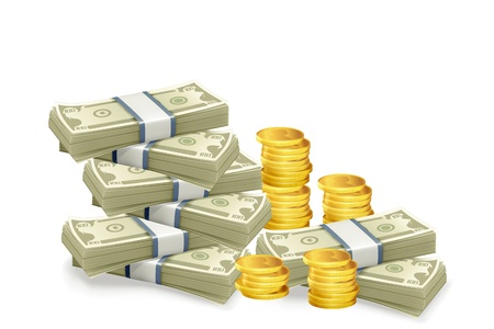 Geld, veel stapels gouden munten en bankbiljetten