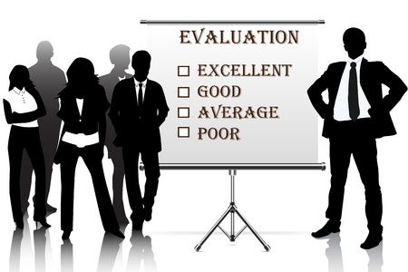 grading: human resources manager check evaluation form report card Stock Photo