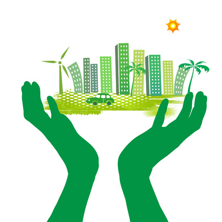 hand and green city Stock Photo