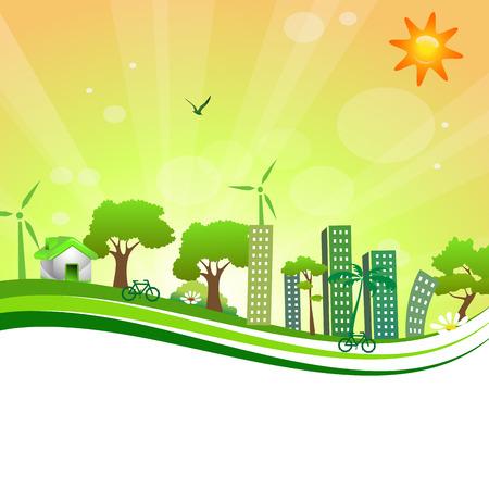 green city on orange background Stock Photo
