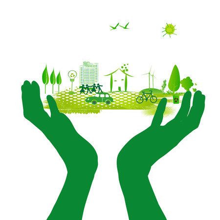 green hand: green city on the green hand