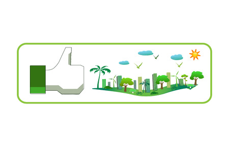 like sign with green city photo