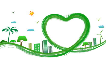 green city with green heart photo