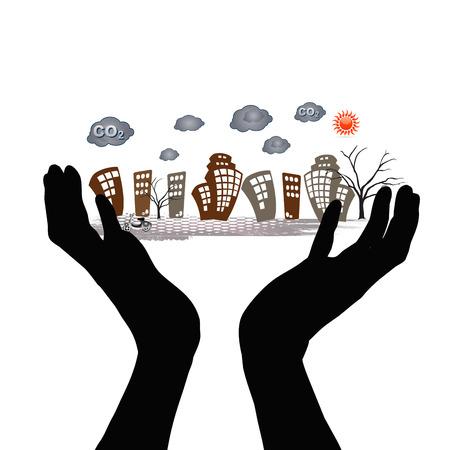pollution city Stock Photo