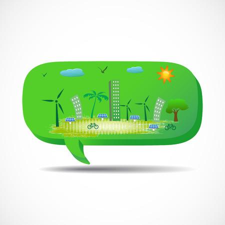 go green city on the speech  photo