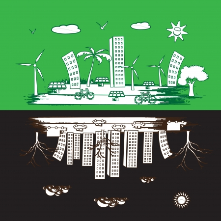 green city and pollution city  photo