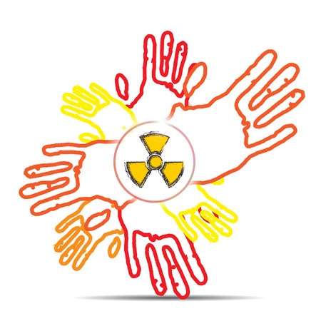 radioisotope: many red hand and nuclear sign