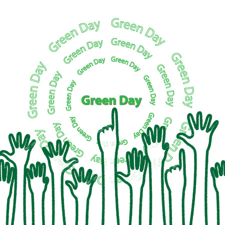 green hand: many green hand on green day