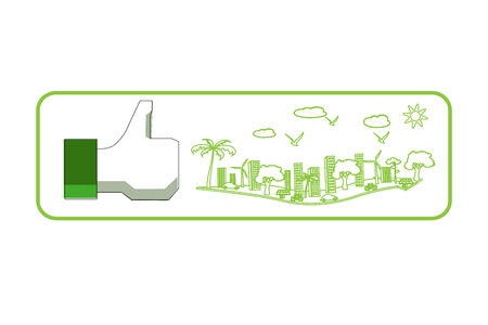 like sign with green city Stock Photo - 24462819