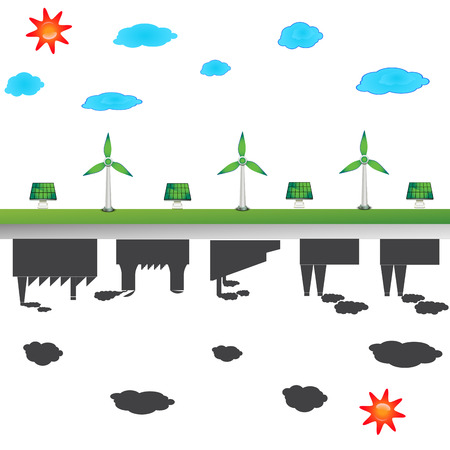 solar windmill and industry city photo