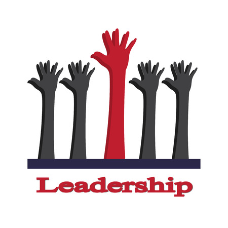 distinguish: red hand as the leadership Stock Photo