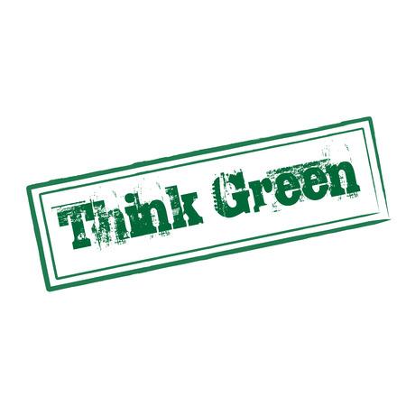 think green: Piense verde del sello de goma del grunge en blanco