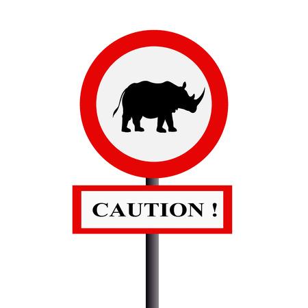 Caution rhinoceros photo