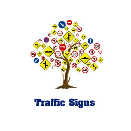 Les panneaux de signalisation sur fond blanc