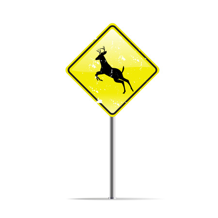 trafic stop: silhouettes of deer on warning trafic sign