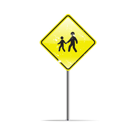 trafic: Silhouette family on trafic sign Stock Photo