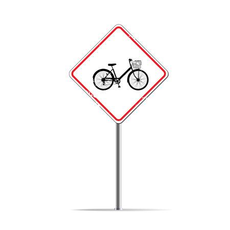 lane: Bike lane on traffic sing Stock Photo