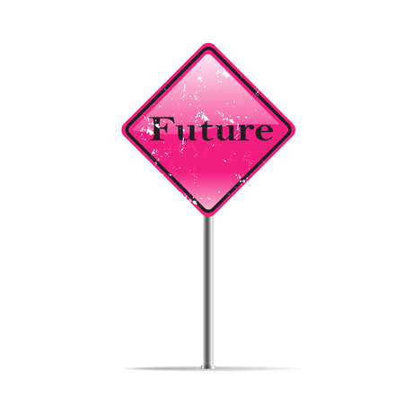 passing the road: Future direction on pink traffic sign Stock Photo